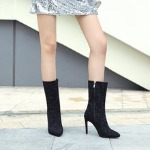 Load image into Gallery viewer, Pointed Toe Mid Calf Boots Stiletto Heel? Winter Shoes for Woman 6078