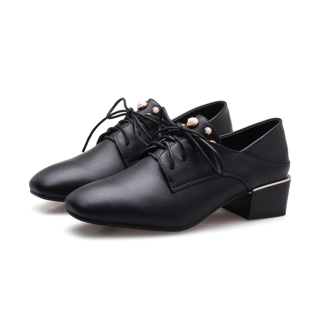 British Style Lace Up Square Head Pearl Oxford Shoes