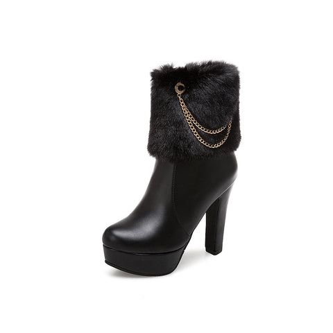 Faux Fur Chains High Heels Short Platform Boots Winter Women Shoes 5529
