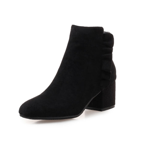 Simple Mid-Heel Short Boots Women Shoes for Winter 1919