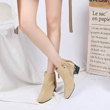 Load image into Gallery viewer, Tassel Mid-Heel Short Boots Women Shoes for Winter 9012