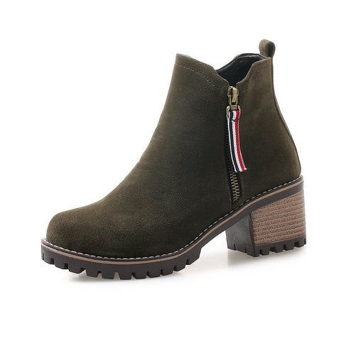 Suede Mid-Heel Short Boots Women Shoes for Winter 1945