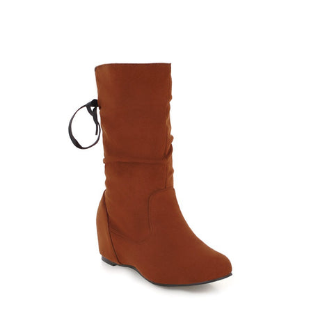 Mid Calf Boots Wedge Heel Winter Shoes for Woman 9335