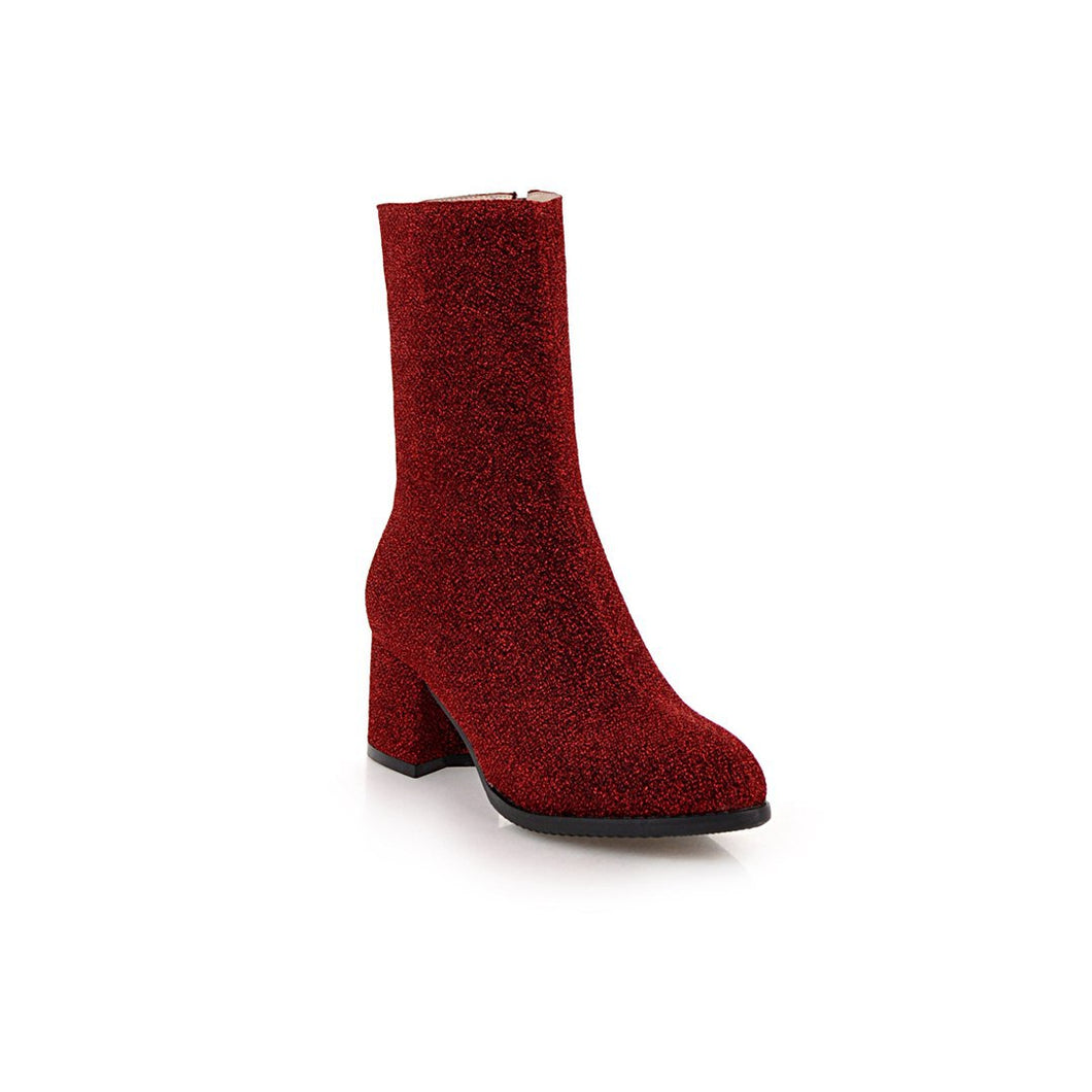 Sparkly Mid Calf Boots Winter Shoes for Woman 5532