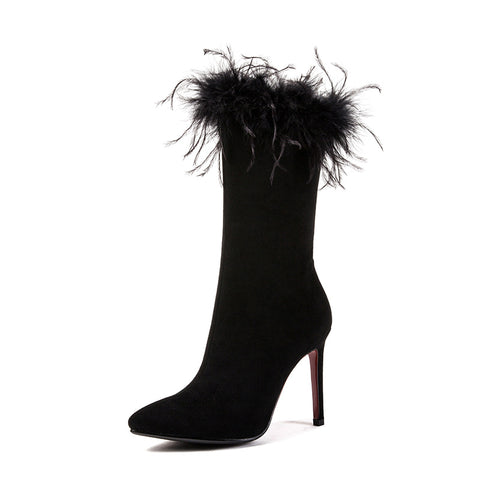 Pointed Toe Fur Mid Calf Boots Stiletto Heel Winter Shoes for Woman 9039
