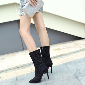 Pointed Toe Mid Calf Boots Stiletto Heel? Winter Shoes for Woman 6078
