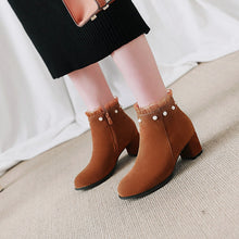 Load image into Gallery viewer, Pearl Mid-Heel Short Boots Women Shoes for Winter 1728