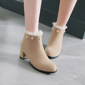 Pearl Mid-Heel Short Boots Women Shoes for Winter 1728