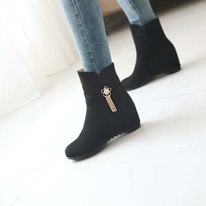 Rhinestone?Mid-Heel Short Boots Women Shoes for Winter 3907
