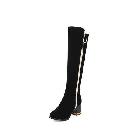 Black Zipper Tall Boots Winter Shoes for Woman 5564
