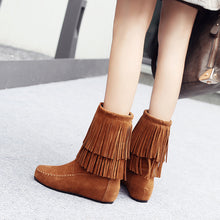Load image into Gallery viewer, Tassel Mid Calf Boots Winter Shoes for Woman 2524