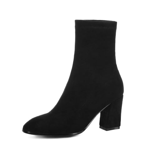 Flock Mid Calf Boots Winter Shoes for Woman 1169