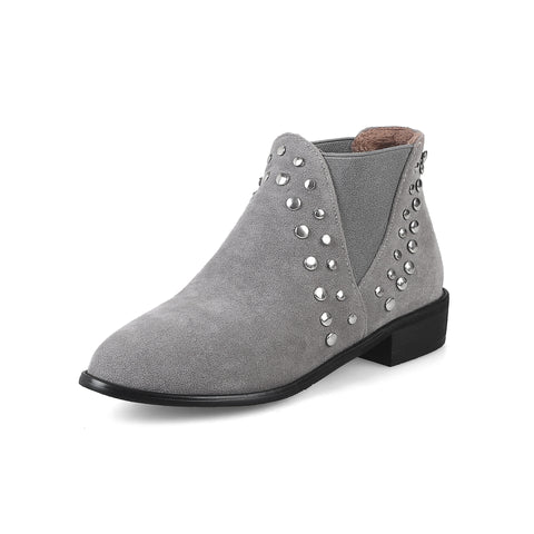 Studded Ankle Boots Square Low Heels Shoes 4314