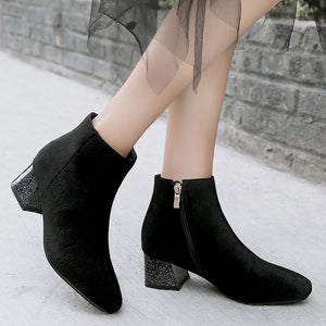 Flower Print Mid-Heel Short Boots Women Shoes for Winter 5638