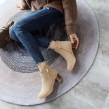 Suede Mid-Heel Short Boots Women Shoes for Winter 6614