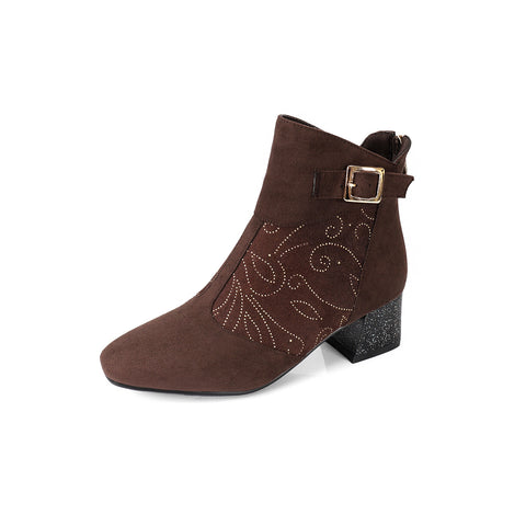 Buckle Print Mid-Heel Short Boots Women Shoes for Winter 1628