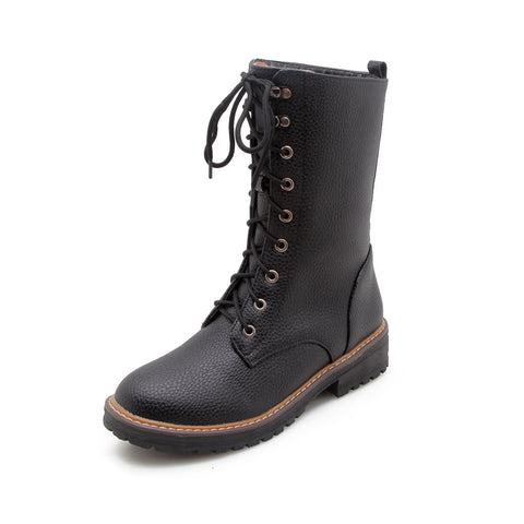 Lace Up Mid Calf Motorcycle Boots? Winter Shoes for Woman 3026