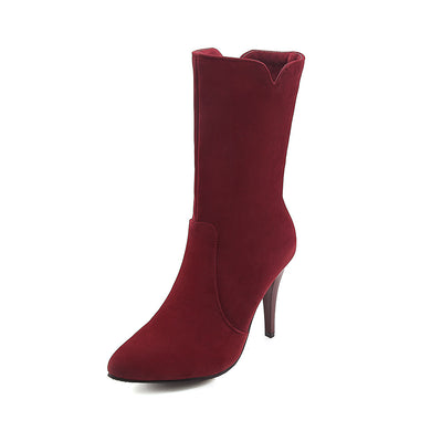 Pointed Toe Stiletto Heel Mid Calf Boots Winter Shoes for Woman 5326
