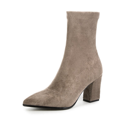Suede Mid Calf Boots Winter Shoes for Woman 6692
