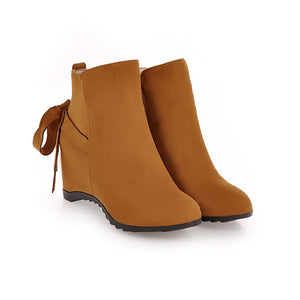 Wedge Mid-Heel Short Boots Women Shoes for Winter 3679
