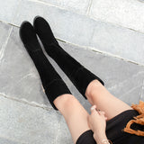 Black Platform Wedges Tall Boots Winter Shoes for Woman 6495