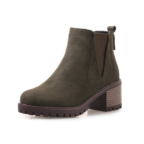 Suede Chelsea Boots Mid-Heel Short Boots Women Shoes for Winter 8056