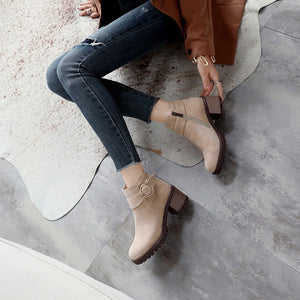 Buckle Suede Mid-Heel Short Boots Women Shoes for Winter 6590