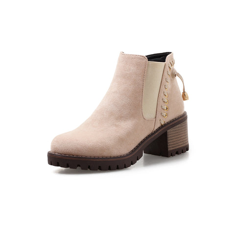 Strap Mid-Heel Short Chelsea Boots Women Shoes for Winter 1496