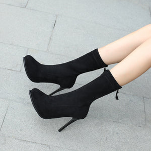 Mid Calf Boots Stiletto Heel?Winter Shoes for Woman 2201