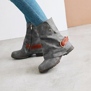 Vintage Ankle Boots Square Low Heels Shoes 3074