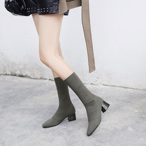 Mid Calf Boots Square Hee Winter Shoes for Woman 4074