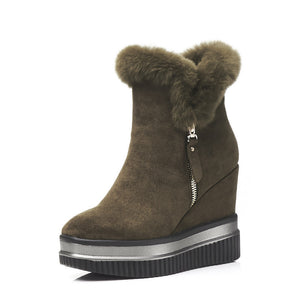 Fall Winter Fur Platform Wedge Ankle Boots Women Shoes 9664