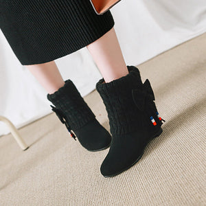 Bowtie Wedge Mid-Heel Short Boots Women Shoes for Winter 1585