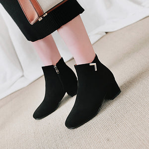 Suede Mid-Heel Short Boots Women Shoes for Winter 3165