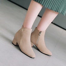 Load image into Gallery viewer, Suede Mid-Heel Short Boots Women Shoes for Winter 3165