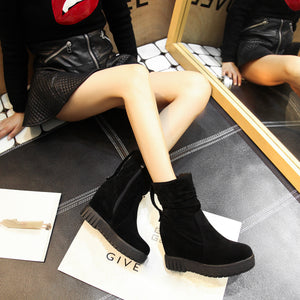 Mid Calf Boots Platform Wedges Winter Shoes for Woman 4919
