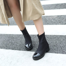 Load image into Gallery viewer, Color Block Mid-Heel Short Boots Women Shoes for Winter 2537