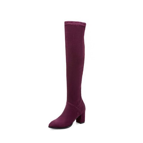 Flock Chunky Heel Over the Knee Boots Winter Shoes for Woman 9118