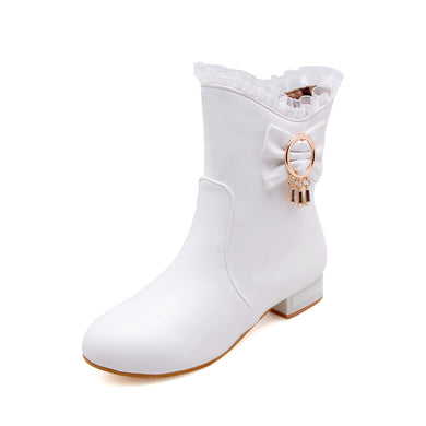 Lace Mid Calf Boots Winter Shoes for Woman 7139