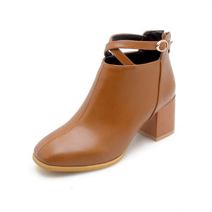 Buckle Mid-Heel Short Boots Women Shoes for Winter 4266