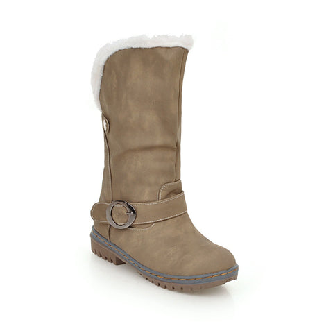 Mid Calf Snow Boots Winter Shoes for Woman 3595