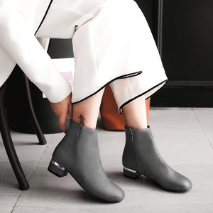 Soft Leather Mid-Heel Short Boots Women Shoes for Winter 4568