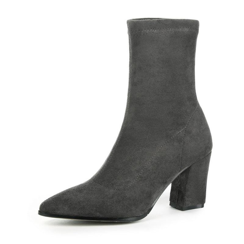 Pointed Toe Mid Calf Boots Winter Shoes for Woman 8781