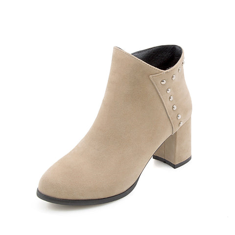Studded Mid-Heel Short Boots Women Shoes for Winter 1162