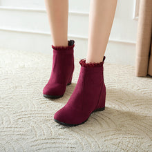 Load image into Gallery viewer, Lacing Wedge Mid-Heel Short Boots Women Shoes for Winter 4362