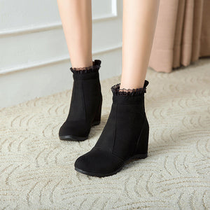 Lacing Wedge Mid-Heel Short Boots Women Shoes for Winter 4362