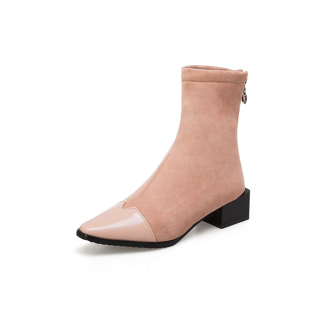 4a5a214b6767c Pointed Toe Ankle Boots Square Low Heels Shoes 3793 – Shoeu