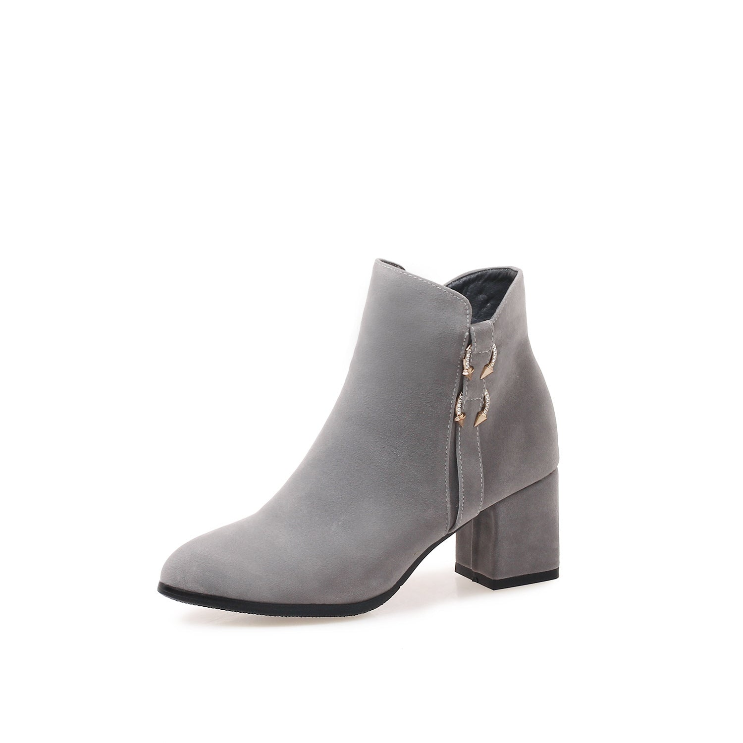25f52b35caf Pointed Toe Suede Zipper Ankle Boots Chunky Heel Shoes 2161