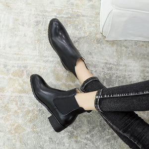 Ankle Chelsea Boots Square Low Heels Shoes 1010