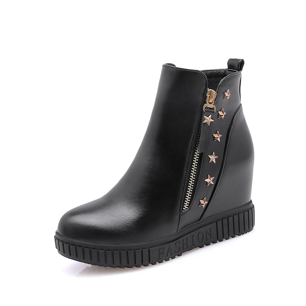 Studded Wedge Mid-Heel Short Boots Women Shoes for Winter 5056